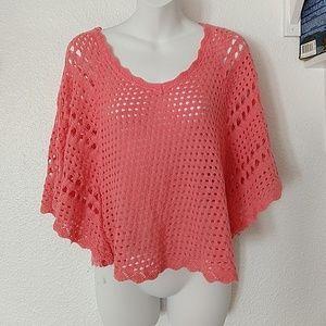 Coral Poncho Knit Blouse